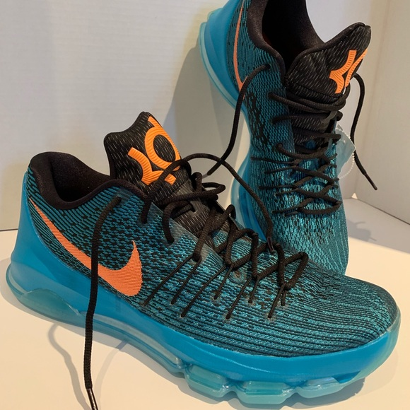 new concept 6e9c5 169a5 Men's Nike KD 8 Blue/Orange Kevin Durant Sneakers NWT
